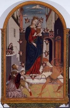 """Bernardino di Mariotto, Madonna del Soccorso (recto)  Pinacoteca Comunale """"P. Tacchi Venturi"""", SAN SEVERINO MARCHE"""