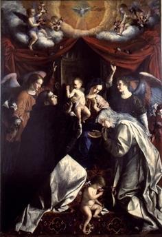 """Orazio Gentileschi, Madonna del Rosario  Pinacoteca Civica """"Bruno Molajoli"""", FABRIANO"""