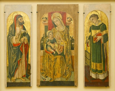 Vittore Crivelli, Madonna col Bambino in trono, San Marco, San Lorenzo