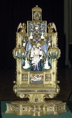 bottega orafa parigina, sec. XIV e orafo dell'Italia centrale, sec. XV, Reliquiario con Cristo in Pietà e scene della Passione
