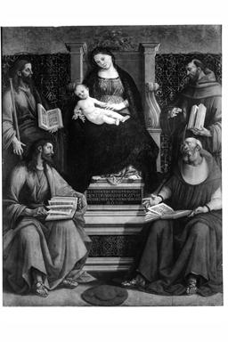 Madonna con Bambino in trono, San Simone, San Bonaventura, San Giacomo Maggiore e San Francesco d