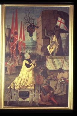 Cristo risorto, Giulio Cesare da Varano in preghiera e quattro angeli che reggono le insegne delle condotte da lui tenute (Mattia Corvino, Sisto IV, Aragona, Venezia)