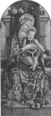 Madonna con Bambino e piccolo frate francescano orante