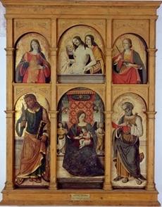 San Bartolomeo, Madonna col Bambino, San Marco in alto e Cristo morto tra la Vergine e San Giovanni, Santa Lucia e Santa Maria Maddalena in basso