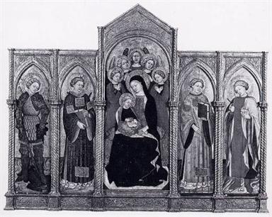 Madonna con Bambino e angeli, San Michele Arcangelo, Santo Stefano, San Lorenzo, San Cosma (o Damiano)