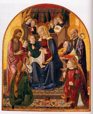 Madonna con Bambino in trono, nove angeli, San Giovanni Battista, San Fortunato, San Nicola da Bari e San Michele arcangelo
