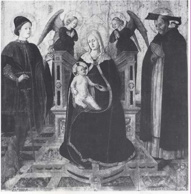 Madonna con Bambino in trono, San Donnino, San Pietro Martire e angeli