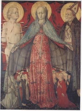 Madonna della Misericordia, San Sebastiano e Santo Vescovo; San Bernardino da Siena