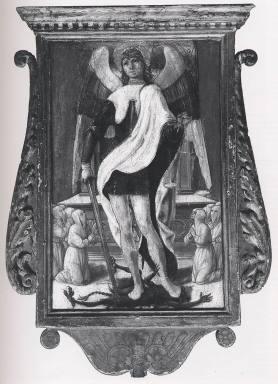 crocifissione; San Michele Arcangelo adorato dai confratelli