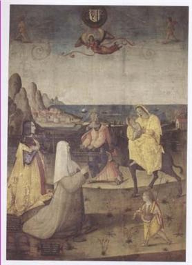 fuga in Egitto con Giovanni Battista, Giovanni Maria da Varano e la madre Giovanna Malatesta