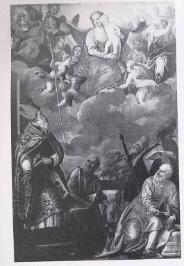 Madonna con Bambino in gloria, Santo Vescovo, San Giovanni Battista, San Pietro e San Paolo.