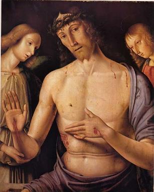 Cristo in pietà sorretto da due angeli