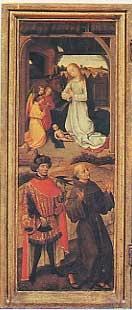 Madonna in adorazione del Bambino dormiente, San Bavone e San Francesco d