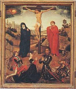 crocifissione di Cristo con Alessandro Sforza e i figli Costanzo e Battista