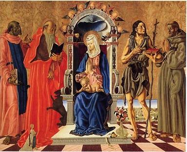 Madonna con Bambino in trono, San Leonardo, San Girolamo, San Giovanni Battista, San Francesco d